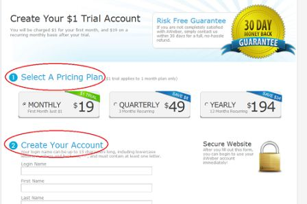 Selet Autoresponder Pricing Option