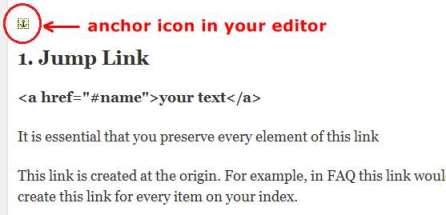 anchor in editor