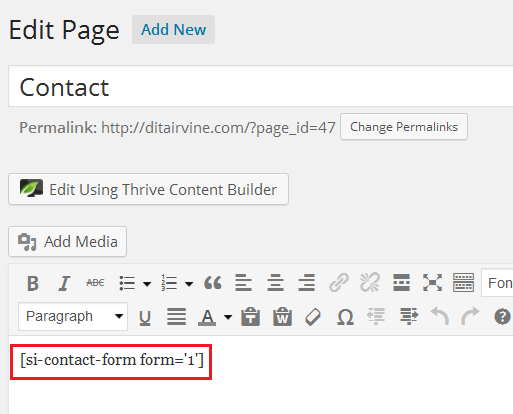 create contact page for fast secure contact form