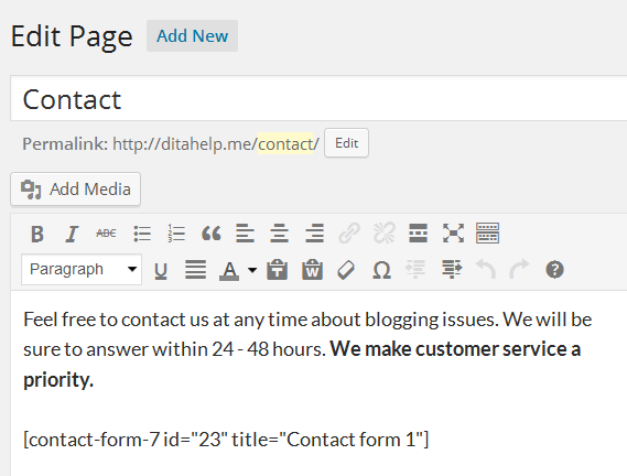 create a contact page