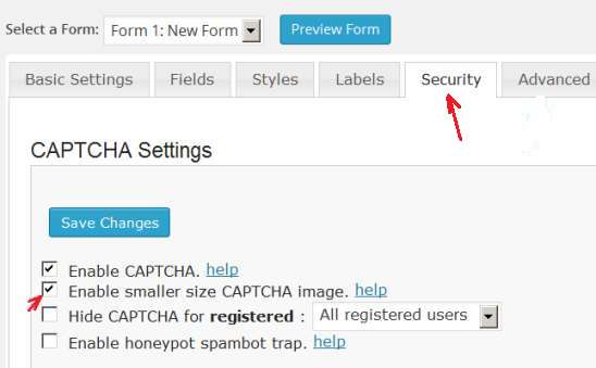 enable captcha option