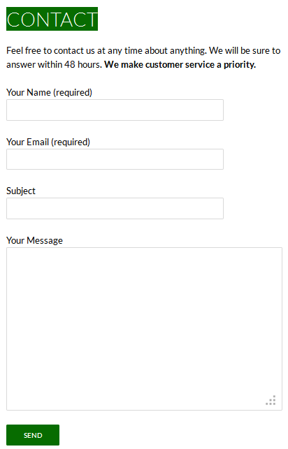 completed contact form