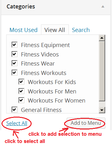 select all categories for menu