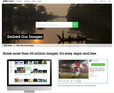 Getty's images website