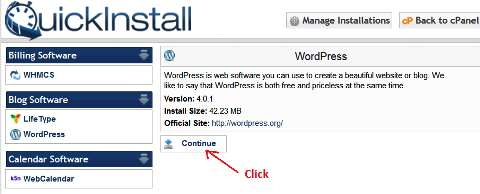 QuickInstall WordPress screen 2