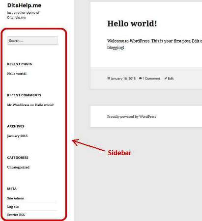 Twenty Fifteen WordPress sidebar