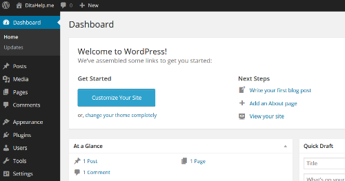 WordPress Dashboard welcome screen