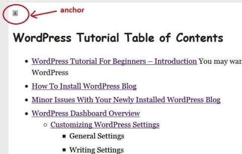anchor for page jumps in visual editor