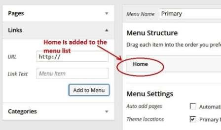 Home added to menu list
