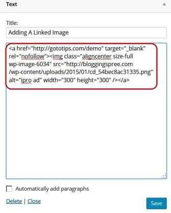 how to ad linked image to text widget