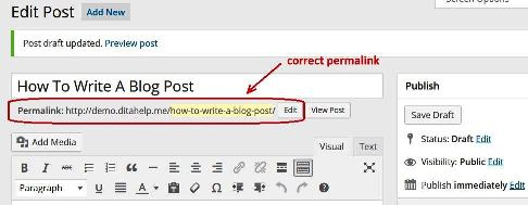 how to write a blog post correct permalink