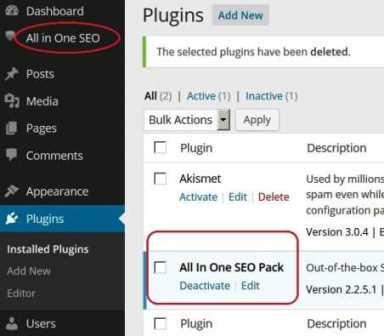 installed SEO plugin