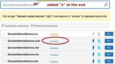 modified domain name search