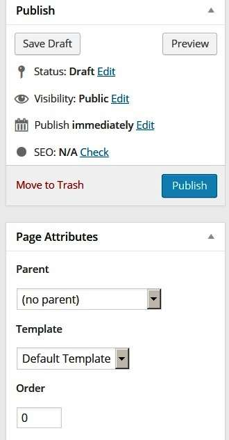 page options in wordpress