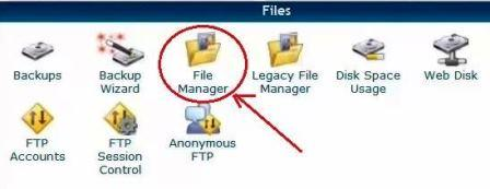 in cpanel, locate file manager