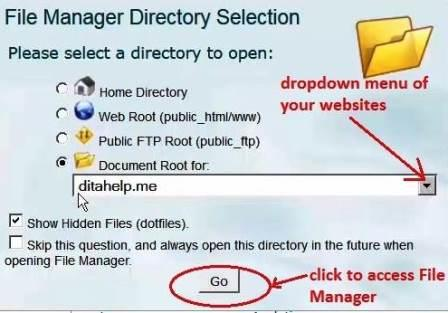 select domain name to add a zip file to